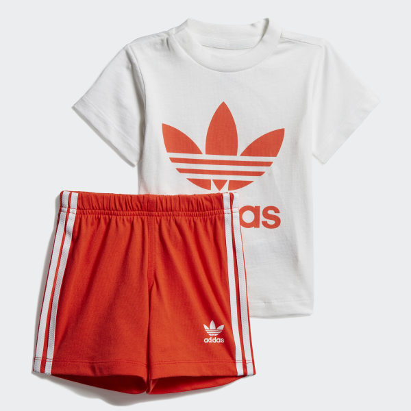 34910595 Trefoil Shorts Tee Set White / Active Orange DV2814