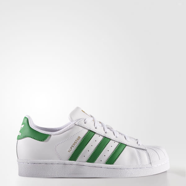 info for 9be5d 5b5fd Superstar Shoes Cloud White   Green   Gold Metallic S81017