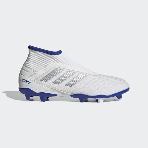 530936b2 Predator 19.3 Laceless Firm Ground Fotballsko Cloud White / Silver Met. /  Bold Blue F99729