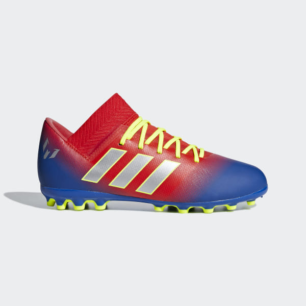 b75221b32ce Nemeziz Messi 18.3 Artificial Grass Boots Active Red   Silver Met.    Football Blue G26978