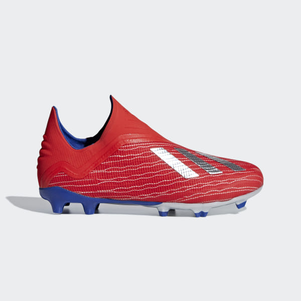 2359e327b X 18+ Firm Ground Boots Active Red / Silver Met. / Bold Blue BB9357