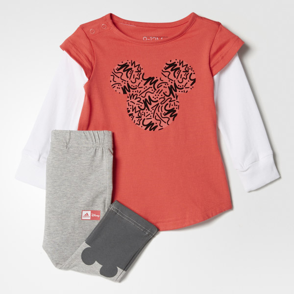ff6483f3f Conjunto Jogger Disney Mickey Mouse CORE PINK S17 WHITE  MEDIUM GREY  HEATHER GREY