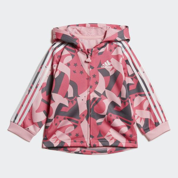 adidas Shiny Full-Zip Hooded Jogger Pantaloncini