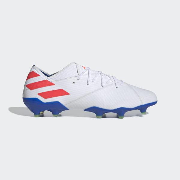 2e433666a768 Kopačky Nemeziz Messi 19.1 Firm Ground Ftwr White   Solar Red   Football  Blue F34402