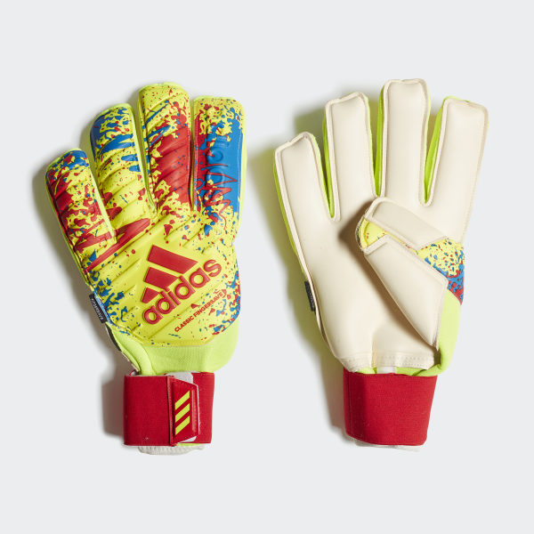 57655f564 Classic Pro Fingersave Gloves Solar Yellow / Active Red / Football Blue  DT8743