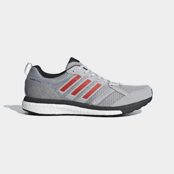 3199355c4 Adizero Tempo 9 Shoes Grey Two / Hi-Res Red / Carbon BB6651