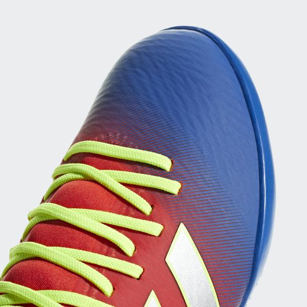 94a557f350e Nemeziz Messi Tango 18.3 Turf Shoes Active Red   Silver Metallic   Football  Blue CM8636