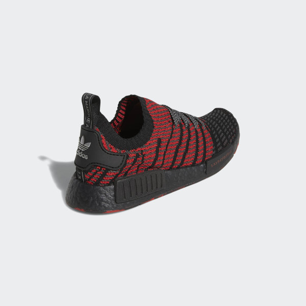 buy popular 09193 08817 NMD R1 Primeknit Shoes Core Black   Solid Grey   Collegiate Red D96817