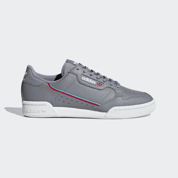 adidas Originals CONTINENTAL 80 (GREY TWOGREY ONESCARLET) (Adidas originals Continental 80)