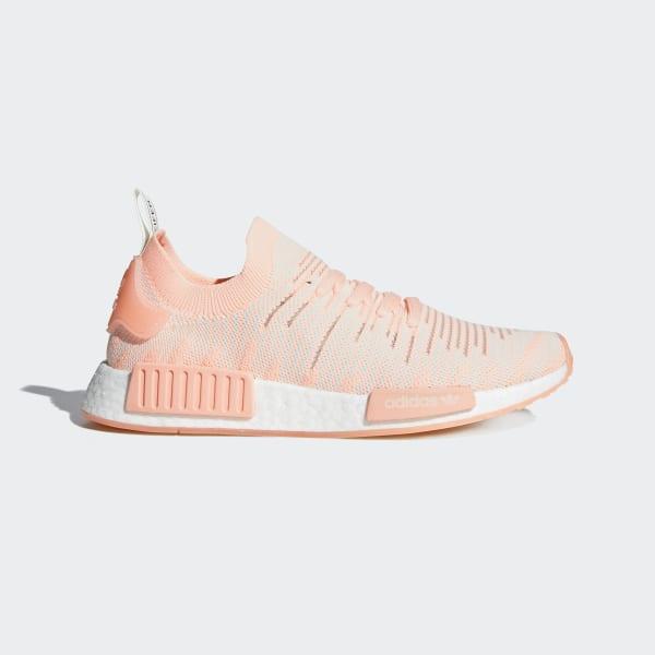 cheaper abd44 2aa8e NMD R1 STLT Primeknit Shoes Pink   Clear Orange   Cloud White AQ1119