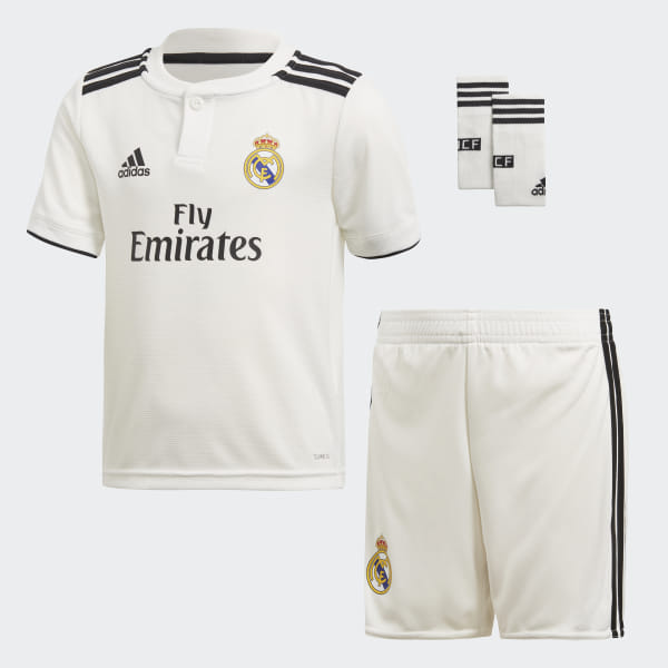 848938939 Real Madrid Home Mini Kit Core White   Black CG0538