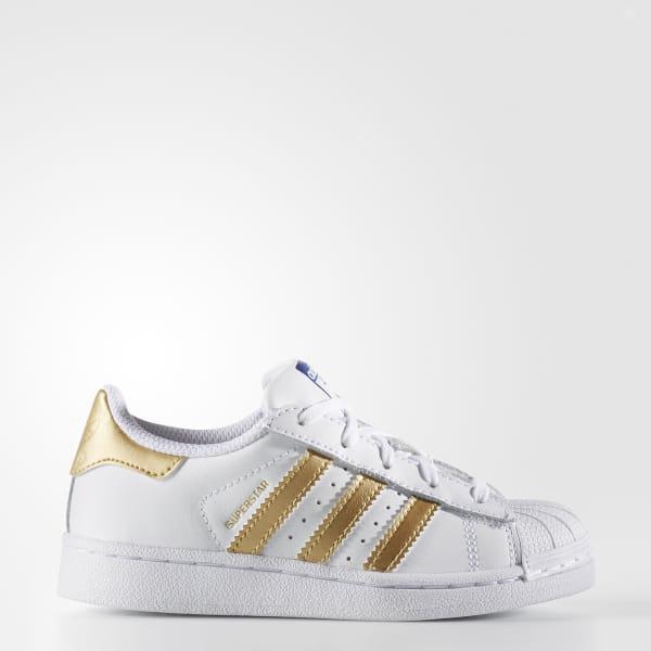 timeless design 79f13 25718 Superstar Shoes Cloud White   Gold Metallic   Blue B39400
