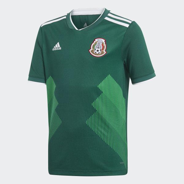 b8e264ea6a5 Jersey Oficial Selección de México Local Niño 2018 COLLEGIATE GREEN WHITE  BQ4696