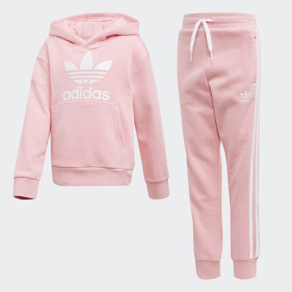 9a8fd8646 Conjunto sudadera con capucha y pantalón Trefoil Light Pink   White DV2848