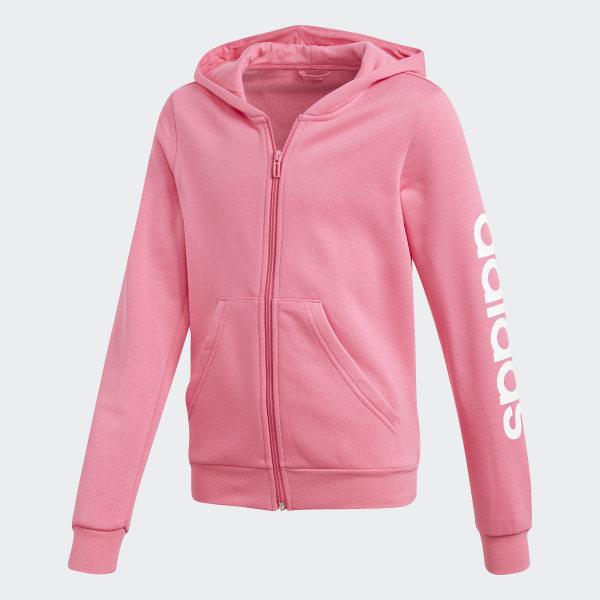 80a2e544435a3 Essentials Linear Hoodie Semi Solar Pink / White DV0360