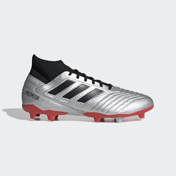 3d087858 Predator 19.3 Firm Ground Cleats Silver Metallic / Core Black / Hi-Res Red  F35595