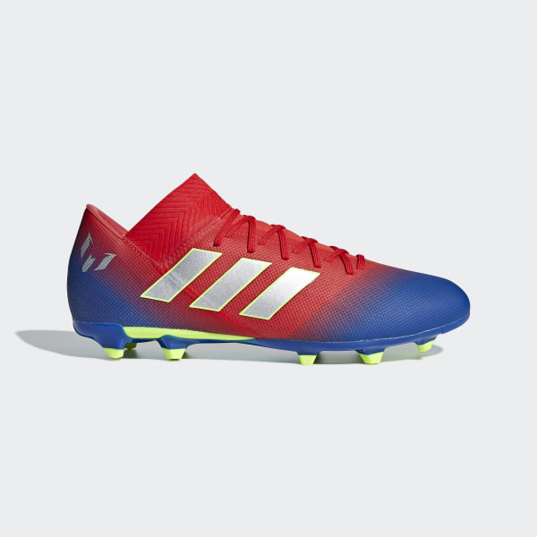 f5e6d27021 Nemeziz Messi 18.3 Firm Ground Boots Active Red   Silver Met.   Football  Blue BC0316