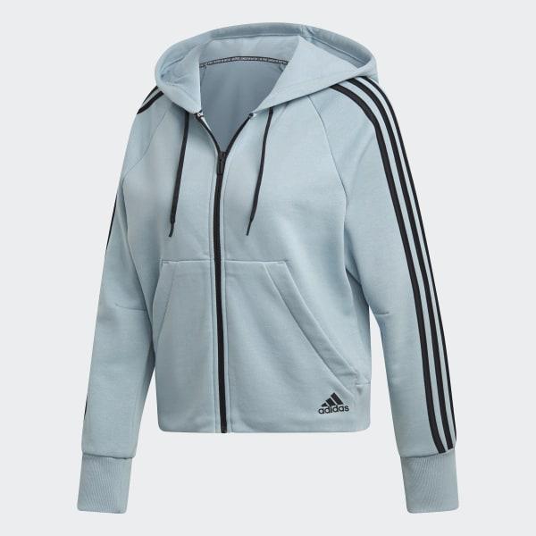 adidas Must Haves 3 Streifen French Terry Kapuzenjacke Blau | adidas Deutschland