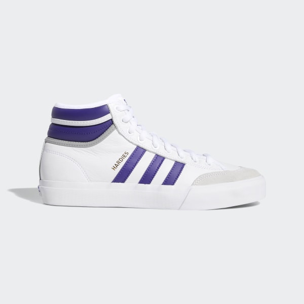 premium selection d698a fc78d Matchcourt High RX2 x Hardies Shoes Cloud White   Collegiate Purple   Gold  Metallic F36438