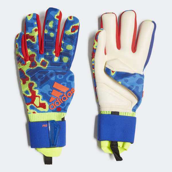 new product b1d20 76f5a Predator Pro Manuel Neuer Gloves Solar Yellow   Football Blue   Active Red  DN8606