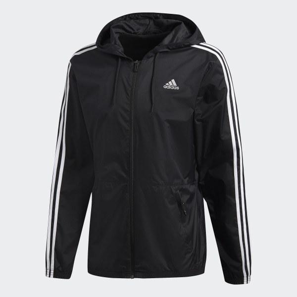 adidas Essentials 3 Stripes Wind Jacket Black | adidas US
