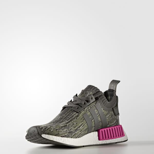 891cfcbb5c979 NMD_R1 Primeknit Shoes Utility Grey / Utility Grey / Shock Pink BZ0222