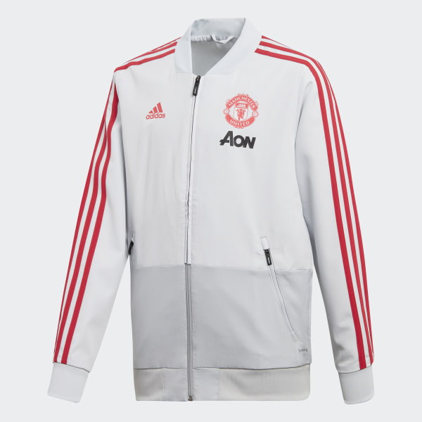 9e396859a44 Manchester United Presentation Jacket Clear Grey   Blaze Red DP6824