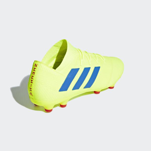 aa8de9709cd Nemeziz 18.2 Firm Ground Cleats Solar Yellow   Football Blue   Active Red  BB9431