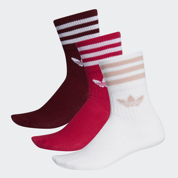 adidas Mid-Cut Crew Socks 3 Pairs - Burgundy | adidas UK