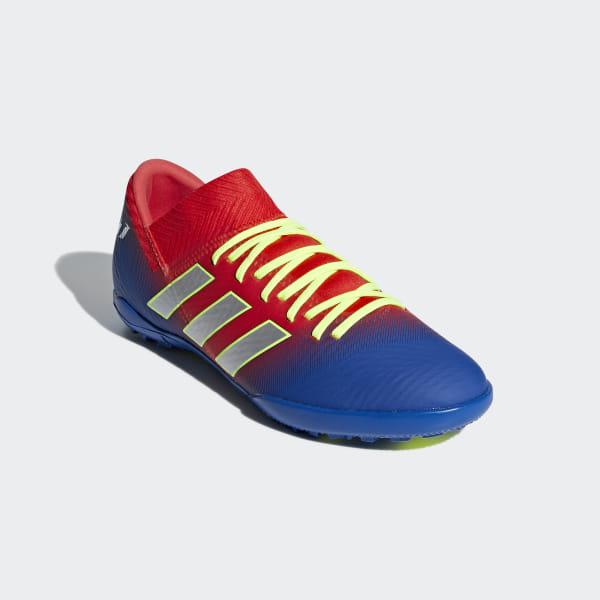 f92dd4d5289 Nemeziz Messi Tango 18.3 Turf Shoes Active Red   Silver Metallic   Football  Blue CM8636