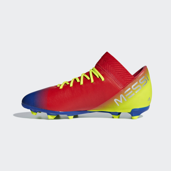be0f567138a Nemeziz Messi 18.3 Firm Ground Cleats Active Red   Silver Metallic    Football Blue CM8627