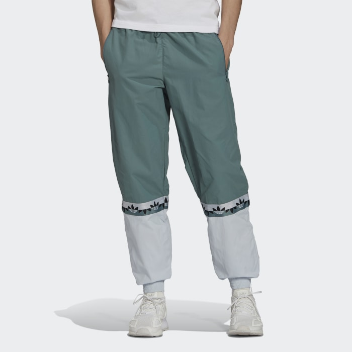 Men Originals Green Adicolor Sliced Trefoil Tracksuit Bottoms