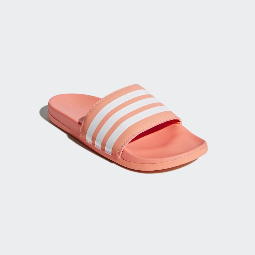 adidas adilette cloudfoam plus stripes slides orange adidas us