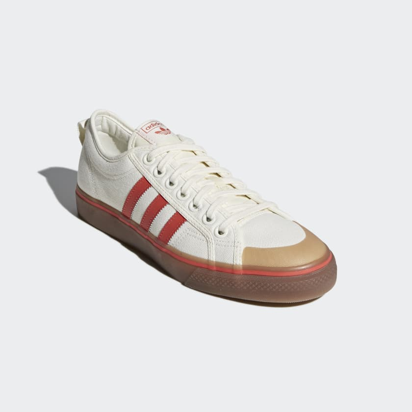 adidas Nizza Canvas Trainers In White And Red